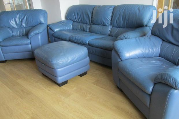 Archive: Blue Leather Sofa Five Seater Set