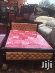5by6 Brown Lathered Simple Bed | Furniture for sale in Central Region, Kampala