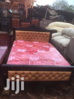 5by6 Brown Lathered Simple Bed