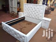 White Leather Bed   Furniture for sale in Central Region, Kampala