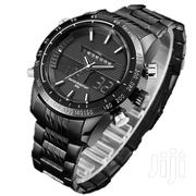 Men's Stainless Steel Dual Wrist Watch - Charcoal Grey | Watches for sale in Central Region, Kampala