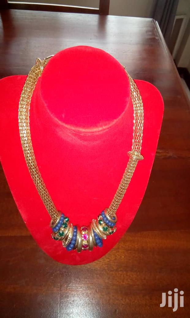Gold Plated With Blue Pendant Ring Chunky Necklace