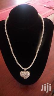White Simulated Glass Pearl With Crystal Heart Pendant Necklace | Jewelry for sale in Central Region, Kampala