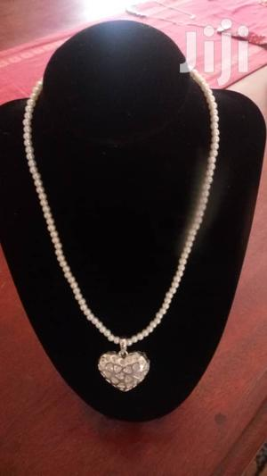 White Simulated Glass Pearl With Crystal Heart Pendant Necklace
